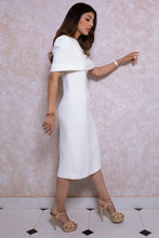 Load image into Gallery viewer, Crepe Pencil Dress with Cape in Ivory