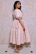 Load image into Gallery viewer, Jacquard Tiered Volume Dress in Pink Rose