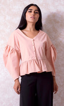 Load image into Gallery viewer, Puffy Sleeve Blouse with Peplum Hem