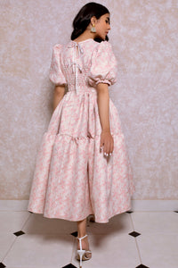 Jacquard Tiered Volume Dress in Pink Rose