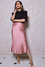 Load image into Gallery viewer, Satin Midi Skirt in Salmon Pink