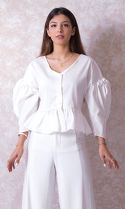 Puffy Sleeve Blouse with Peplum Hem