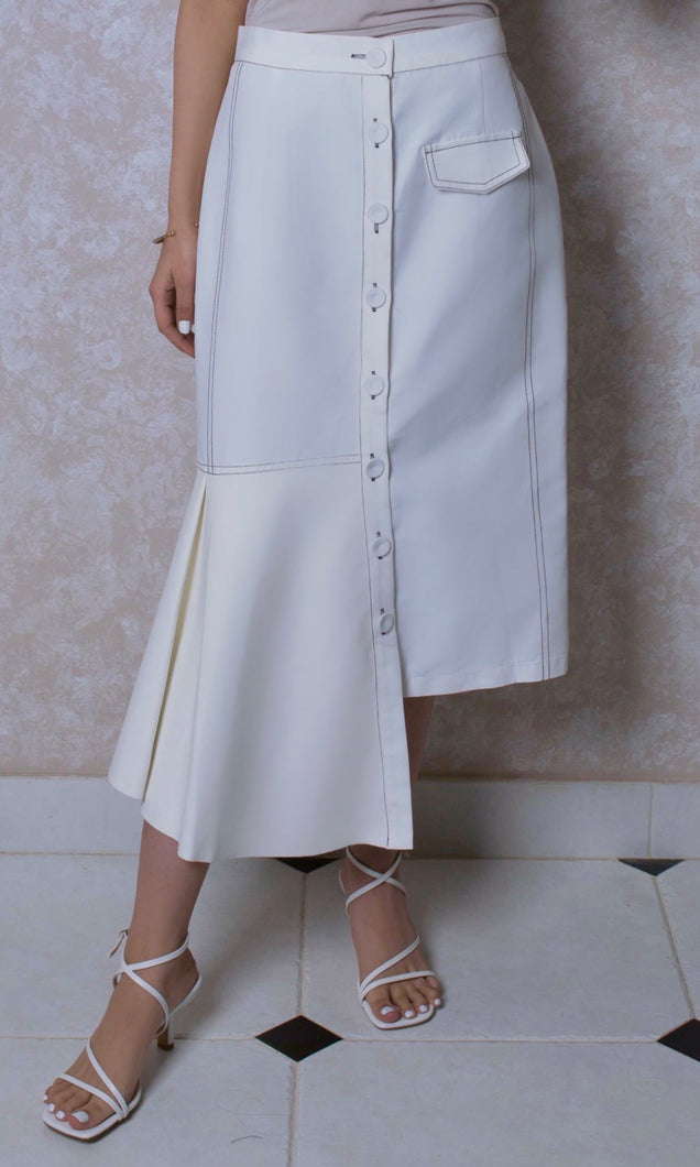 Topstitch Skirt with Leather Insert in Pearl White