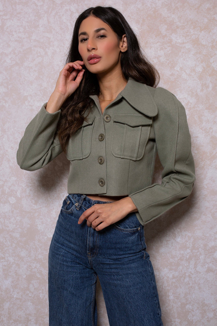 Puff Sleeves Cropped Jacket in Khaki