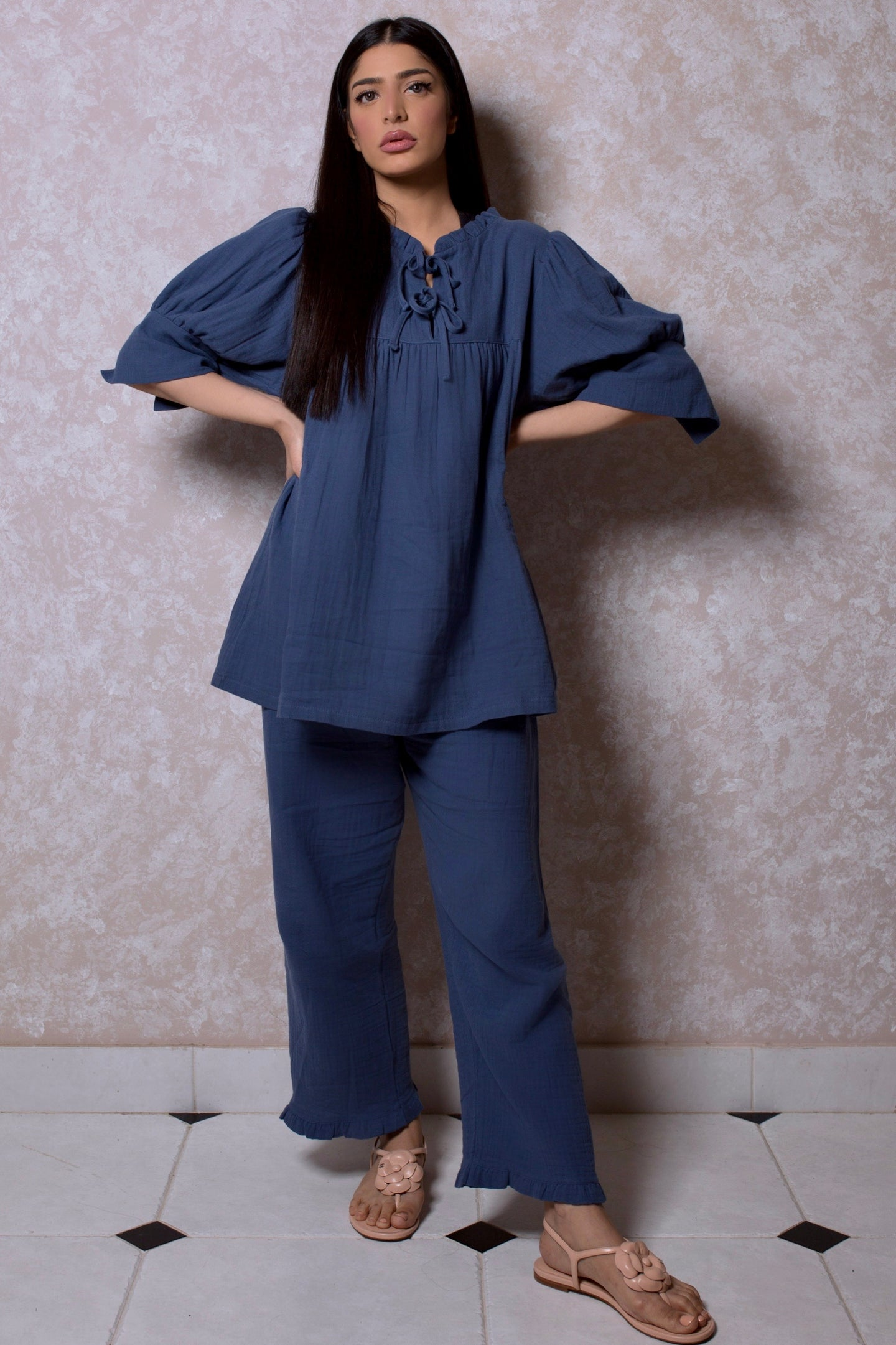 Double Bow Frill Collar Loungewear Set in Royal Navy