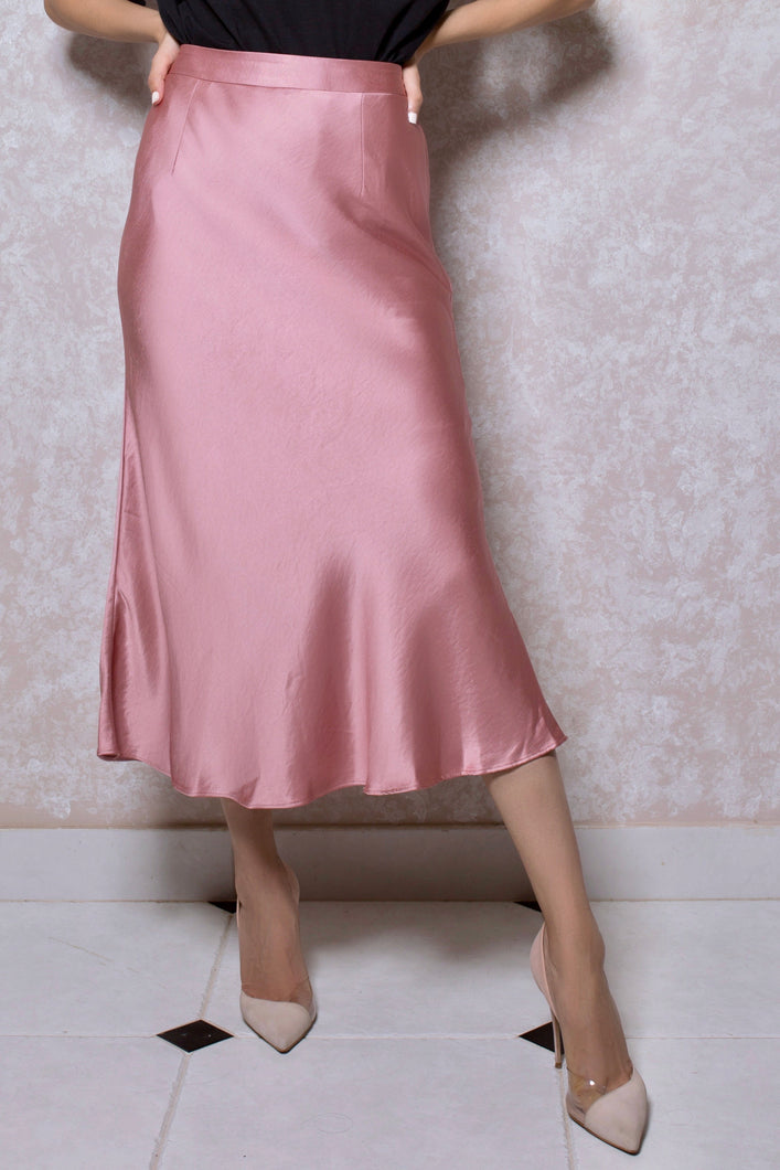Satin Midi Skirt in Salmon Pink
