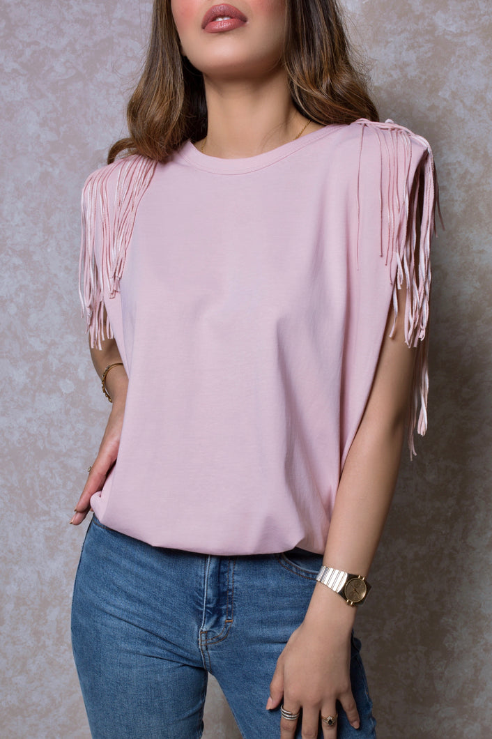 Fringed Shoulder Pad Muscle Tee in Pink Lemonade