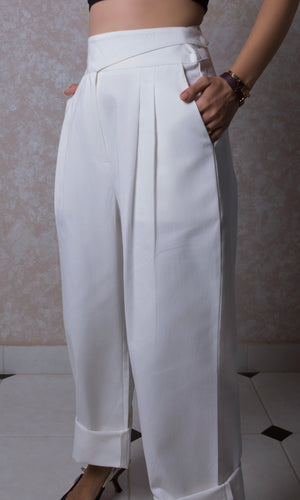 Pintuck High Waisted Trousers