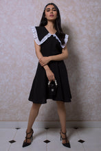 Load image into Gallery viewer, Lacey Wide Collar Dress with Belt in Black