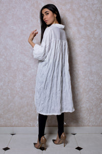 Oversized Tunic with Balloon Sleeves in White