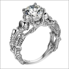 Skull Rings For Men Chunky Cubic Zirconia. - 10 / White Stone Silver