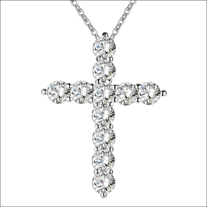 Cross Necklace Finely Finished Silver Crystal Configuration.