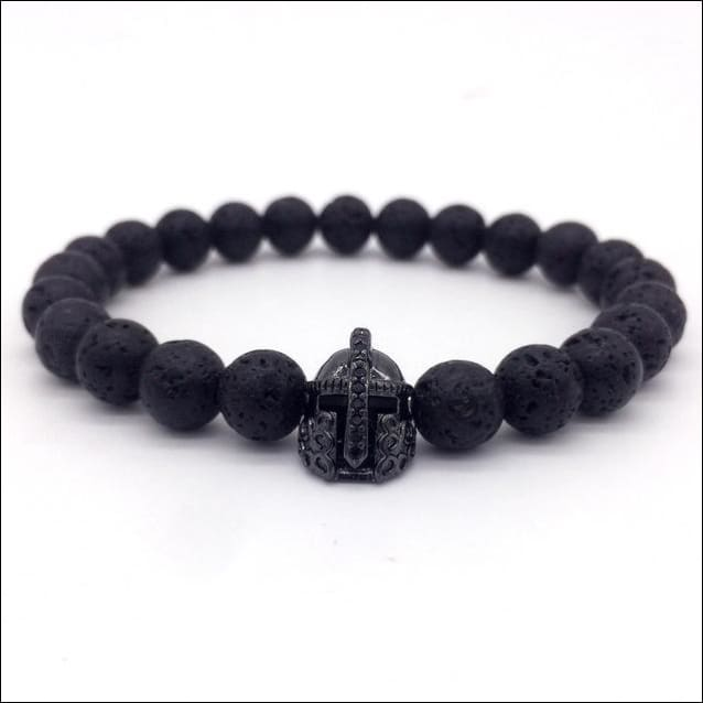 Crowned Lava Stone Bracelets. - Black / Knight