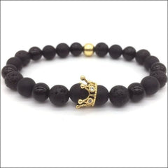 Crowned Lava Stone Bracelets. - Gold / Queen