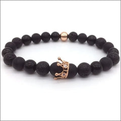 Crowned Lava Stone Bracelets. - Rose Gold / Queen