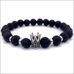 Crowned Lava Stone Bracelets. - Silver / King