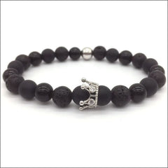 Crowned Lava Stone Bracelets. - Silver / Queen