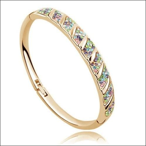 Crystal Bracelets Various Colors Round Pattern Rhinestone. - Gold Multi