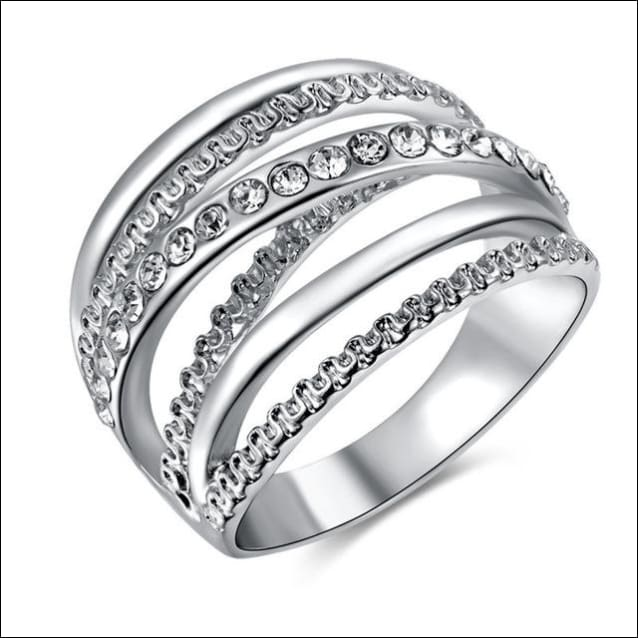 Crystal Ring Paved Setting For Engagements. - 10 / Silver