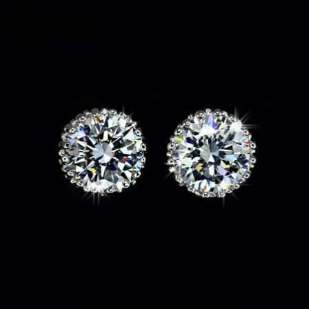 Cubic Zirconia 8Mm Rounded Bullet Backing Earrings.