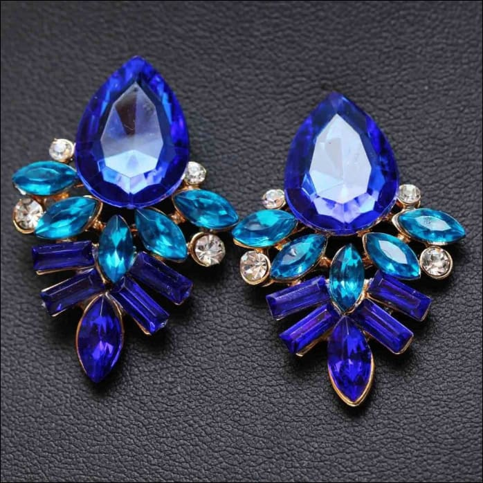 Dangled Earrings Handmade Rhinestone Crystal. - Blue