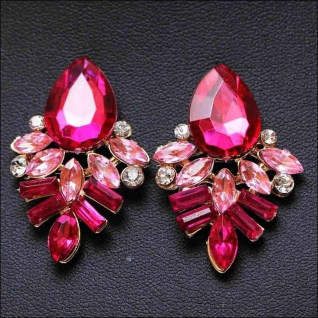Dangled Earrings Handmade Rhinestone Crystal. - Hot Pink