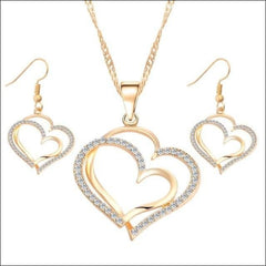 Heart Crystal Necklace With Superior Alloy. - Gold