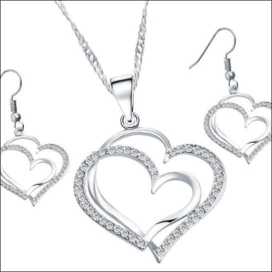 Heart Crystal Necklace With Superior Alloy. - Silver
