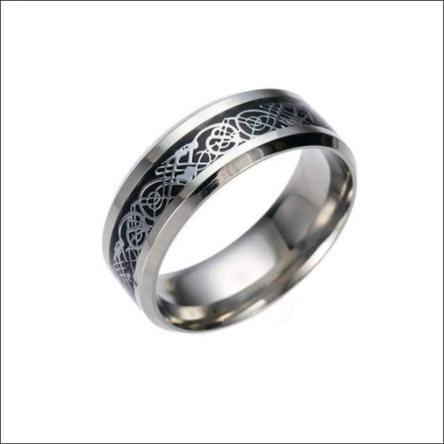 Mens Dragon Ring Polished Stainless Steel - 5 / Black