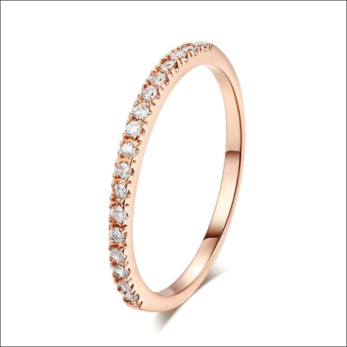 Party Rings. Stylish Crystal Configuration. - 10 / Rosegold Clear
