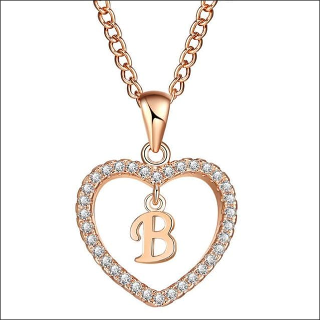 Personalized Heart Necklaces Cubic Zirconia Crystal. - B