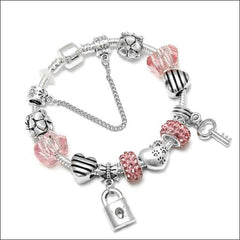 Quality Alloy Metal Bracelets - Lock And Key. - Pink / 18Cm