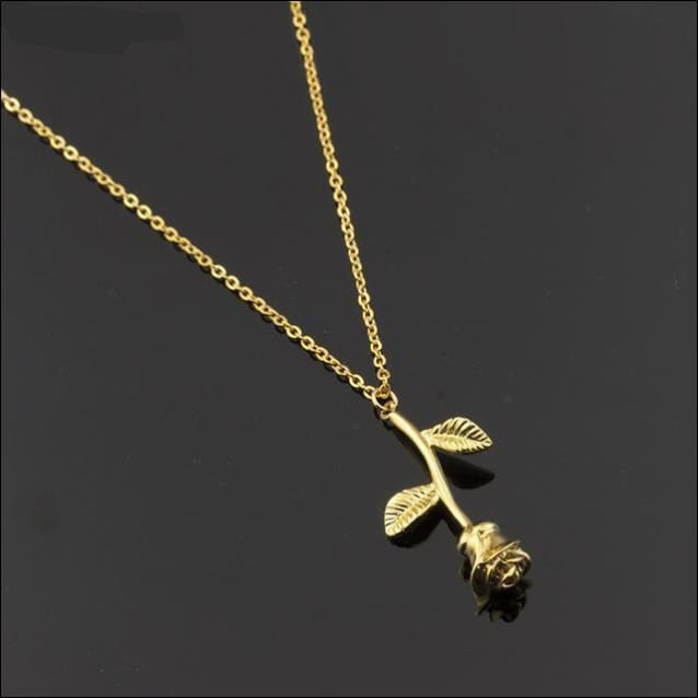 Rose Pendant Necklace Fine Stainless Steel. - Gold