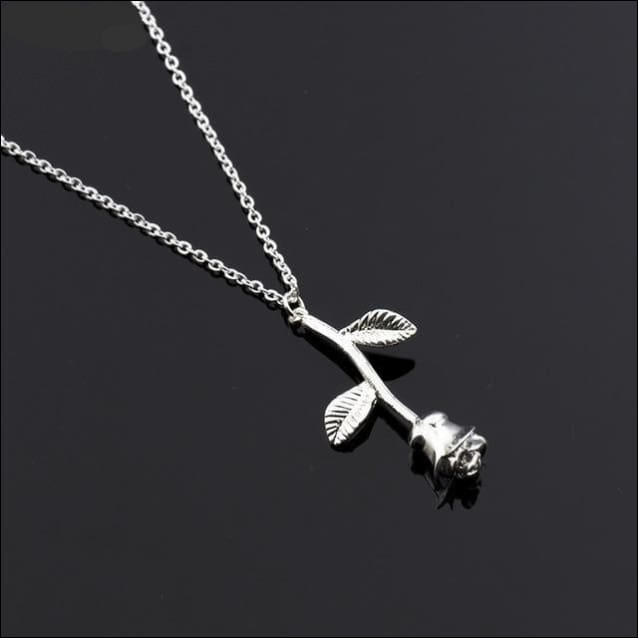 Rose Pendant Necklace Fine Stainless Steel. - Silver
