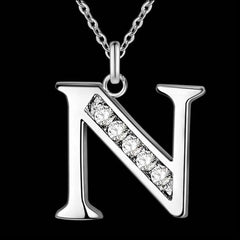 Silver Necklace Chain With A Patterned Crystal Finish. - N