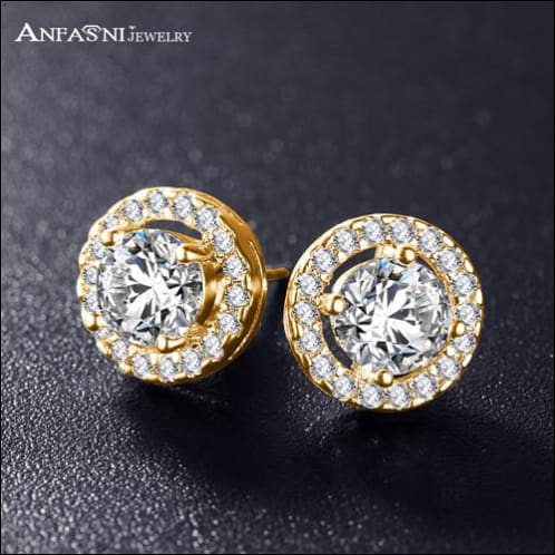 Stud Earrings For Women. Clear Platinum Zirconia Stone Plated. - Gold