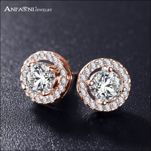 Stud Earrings For Women. Clear Platinum Zirconia Stone Plated. - Rose Gold