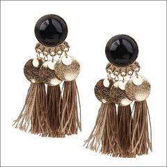 Vintage Earrings Coin Drop Tassel. - Black Coffee