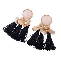 Vintage Earrings Coin Drop Tassel. - Black Color