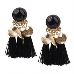 Vintage Earrings Coin Drop Tassel. - Black Black