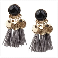 Vintage Earrings Coin Drop Tassel. - Black Gray