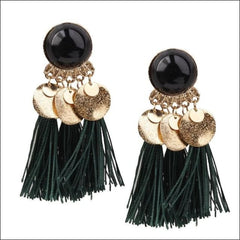 Vintage Earrings Coin Drop Tassel. - Black Green