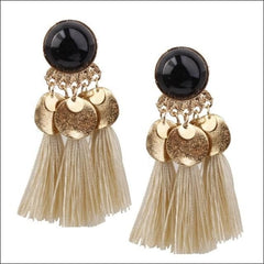 Vintage Earrings Coin Drop Tassel. - Black White