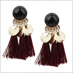 Vintage Earrings Coin Drop Tassel. - Black Wine Red