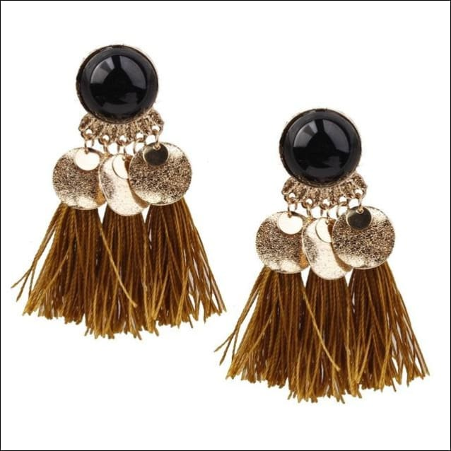 Vintage Earrings Coin Drop Tassel. - Black Yellow