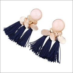 Vintage Earrings Coin Drop Tassel. - Blue