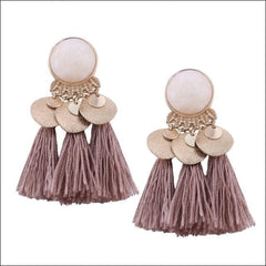 Vintage Earrings Coin Drop Tassel. - Coffee