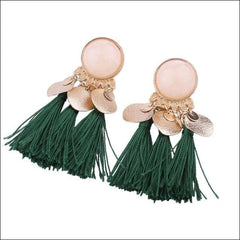 Vintage Earrings Coin Drop Tassel. - Green