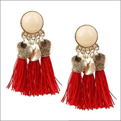 Vintage Earrings Coin Drop Tassel. - Red