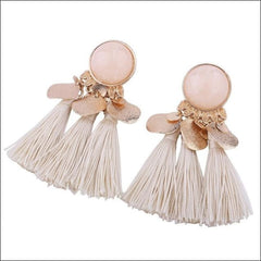 Vintage Earrings Coin Drop Tassel. - White